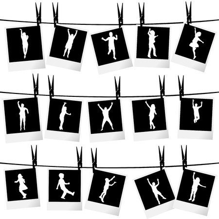 photo collage: Collection of photo frames hanging on rope with children silhouettes Illustration