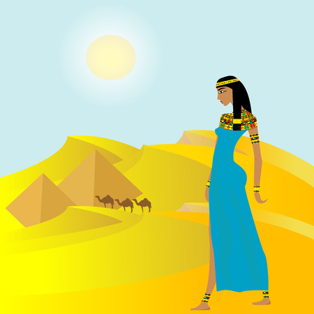 Egyptian background with ancient woman and pyramids Vector