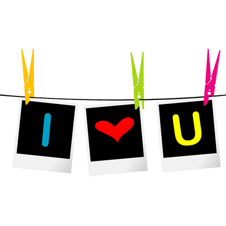 I love you concept with photo frames hanging on rope and colored pegs Vector