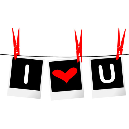 I love you concept with photo frames hanging on rope Vector