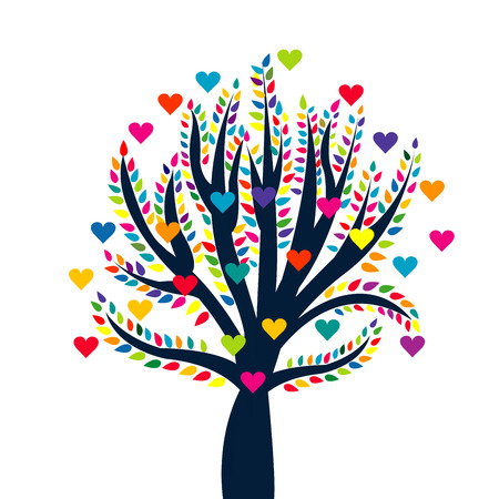 arbor: Love tree isolated over white background
