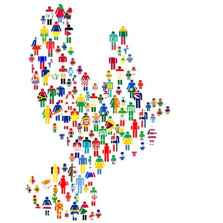 paz mundo: Concepto de paz con la paloma hecha de personas estampadas en banderas del mundo Vectores