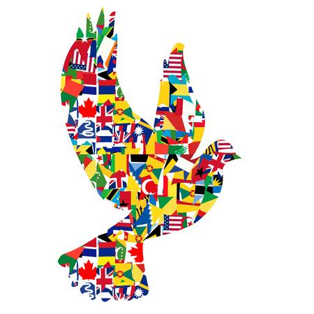 paz mundial: Concepto de paz con la paloma hecha de banderas del mundo Vectores