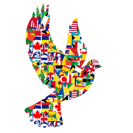 world group: Peace concept with dove made of World flags