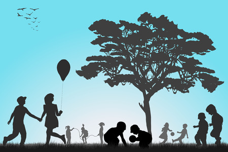 kids playing outside: Silhouettes of children playing outside Illustration