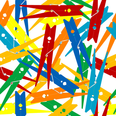 clothes pegs: Seamless pattern with clothes pegs
