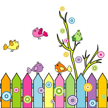 birdie: Card with cartoon birds on a fence Illustration