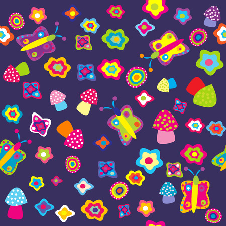 Childish background with flowers butterflies and mushrooms Vector