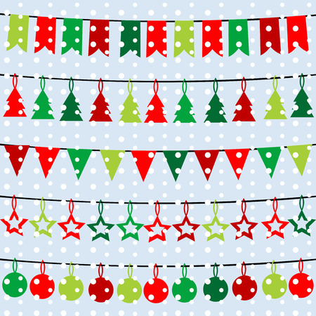 Christmas background with garlands and buntings over a snowflakes background Vector
