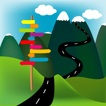 agriculture wallpaper: Mountain landscape with direction sign Illustration