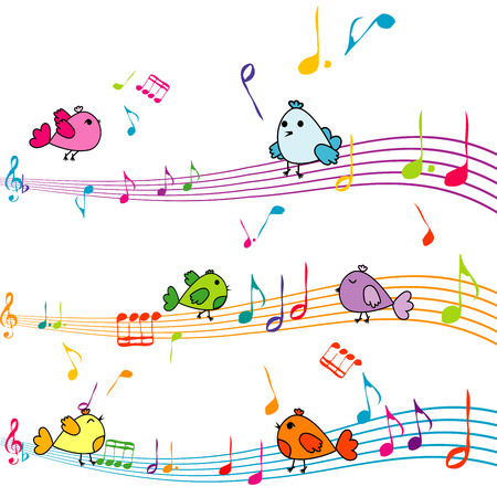 stave: Music note with cartoon birds singing Illustration