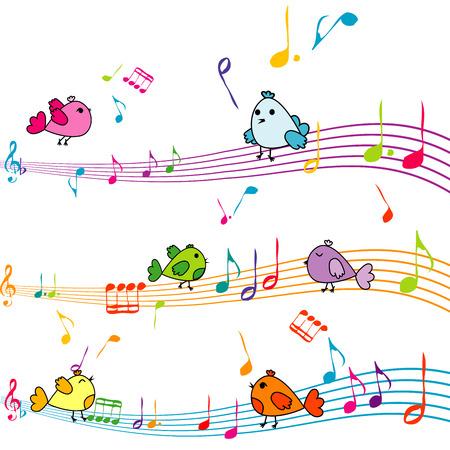 ni�o cantando: Nota de la m�sica con aves de dibujos animados cantando