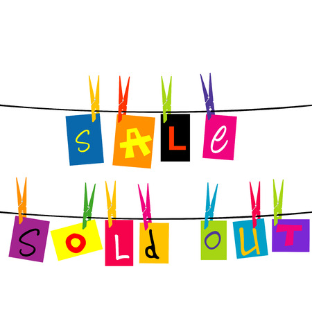 peg: Sale and sold out hanging on a rope Illustration