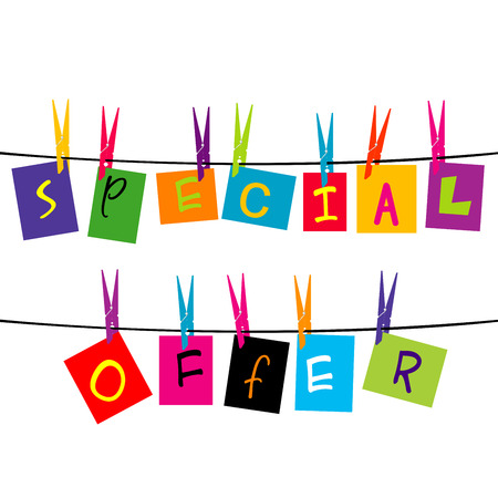 Special and sold out letters hanging on a rope Vector