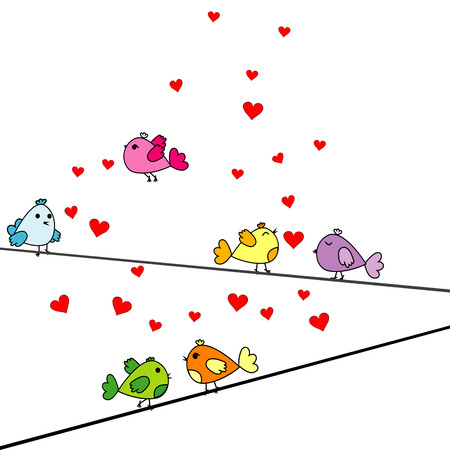 sumer: Valentines Day card with cartoon birds and hearts Illustration