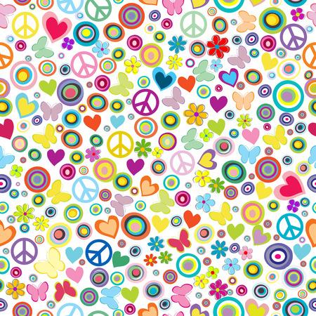 Flower power achtergrond naadloze patroon met bloemen, vredes tekens, cirkels en vlinders