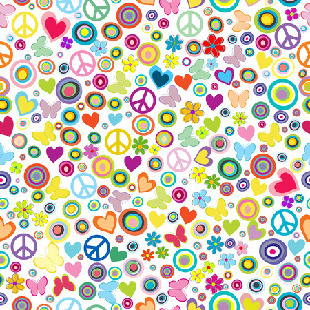 Flower power background seamless pattern with flowers, peace signs, circles and butterflies Vectores