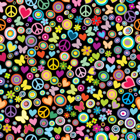 Seamless pattern of flowers, circles, hearts, butterflies and peace signs