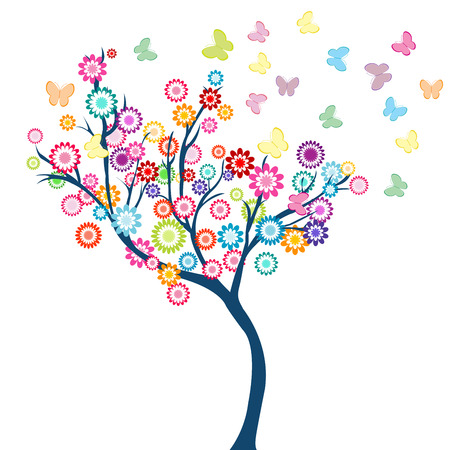 arbor: Tree with flowers and butterflies