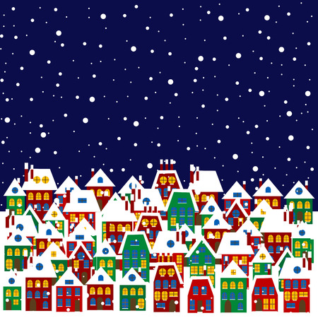 outside the house: Village in winter Illustration