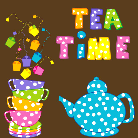 Tea time with stacked cups and kettle
