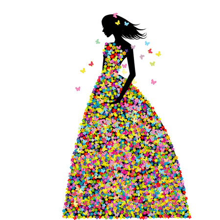 prom: Woman dressed in spring flowers and butterflies
