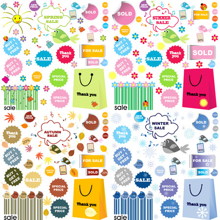 All seasons sale set with stickers and labels Vector