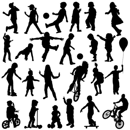 Group of active children, hand drawn sillhouettes of kids playing Vector