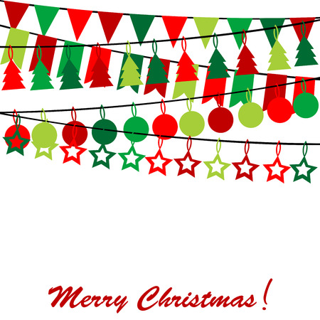 Merry Christmas card with bunting and garlands Vector