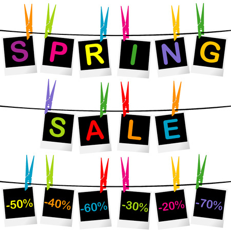 Spring sale concept with photo frames hanging on clothespins Vector