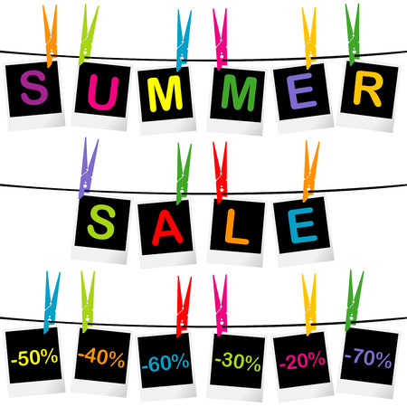 clothespin and rope: Summer sale concept with photo frames hanging on clothespins