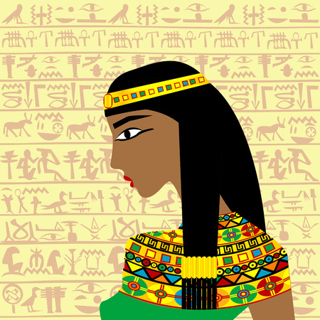 hieroglyphs: Ancient Egyptian woman profile over a background with Egyptian hieroglyphs
