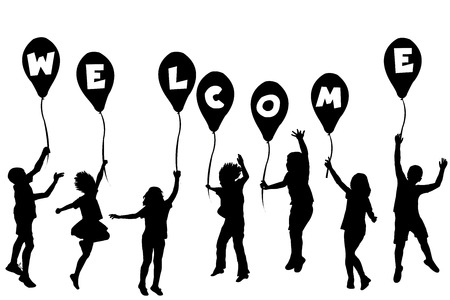 little girl dancing: Children silhouettes holding balloons with letters building WELCOME
