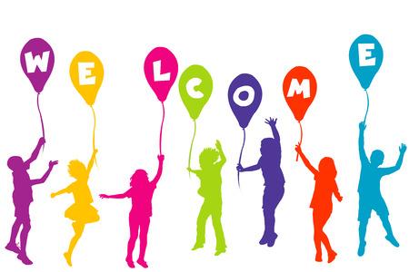 silueta niño: Los niños de color siluetas con globos con letras construcción BIENVENIDOS
