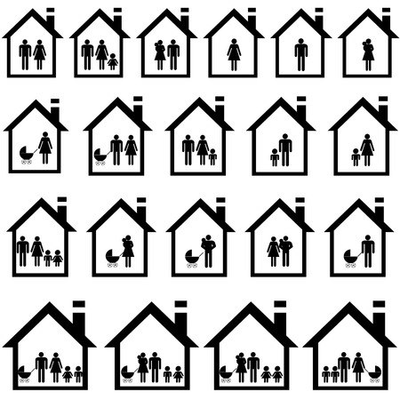 Pictograms of families in houses Illustration