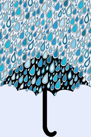 Umbrella and blue rain drops Vector
