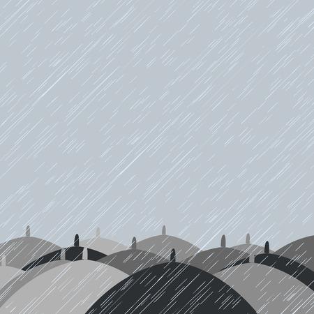 Autumn background with  rain and umbrellas photo