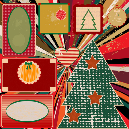vintage christmas background: Vintage Christmas background with frames