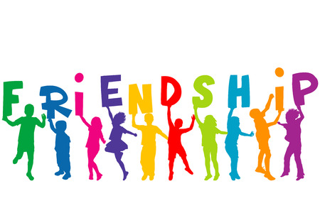 Children silhouettes holding letters with word FRIENDSHIP