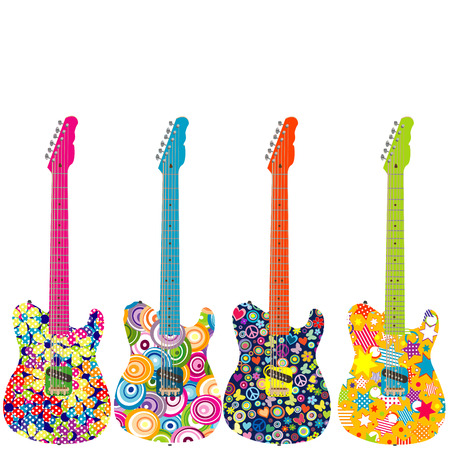 Flower power guitares électriques Banque d'images - 33738918
