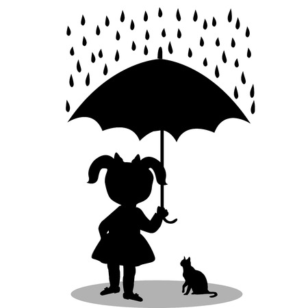 Little girl with a cat under an umbrella Stock Vector - 33740257