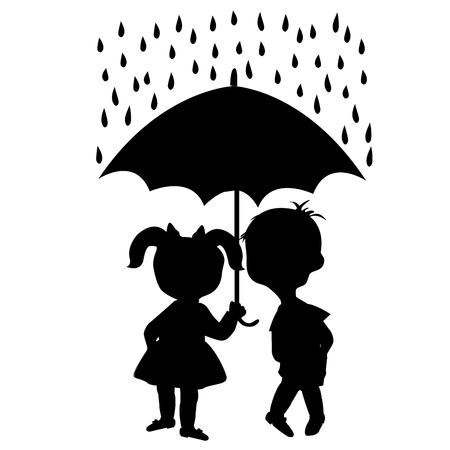 couple in rain: Pair of children staying under an umbrella
