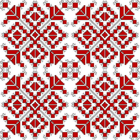 hungarian: Red and black ethnic ornaments over white background