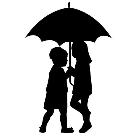 우산 아래 두 어린 소녀
