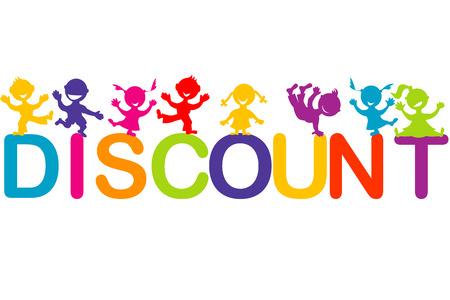 banner infantil: Niños jugando en la palabra descuento