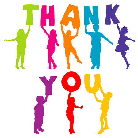agradecimiento: Siluetas de los niños que sostienen las letras con GRACIAS