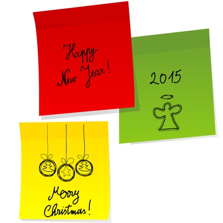 sheets of paper with doodle christmas and happy new year messages royalty free cliparts vectors and stock illustration image 34385242
