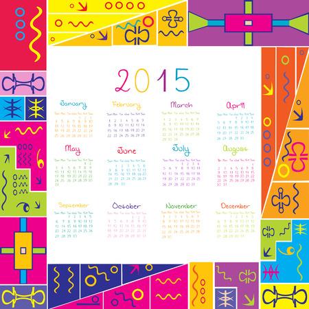 2015 calendar with frame for kids Vector