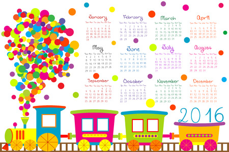 2016 calendar with cartoon train for kids Vector