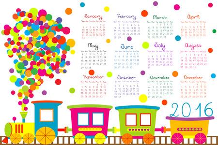 2016 kalender met cartoon trein voor kinderen
